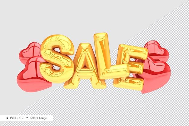 Реалистичная золотая распродажа с воздушным шаром в форме сердца 3d-рендеринга