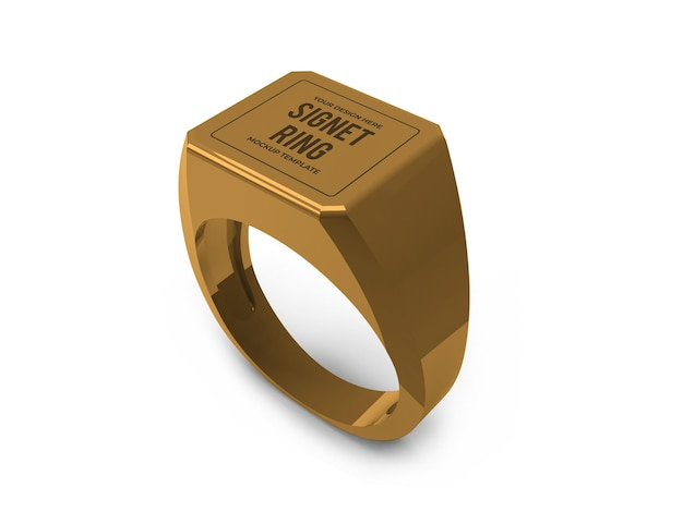 Realistic golden signet ring mockup template isolated