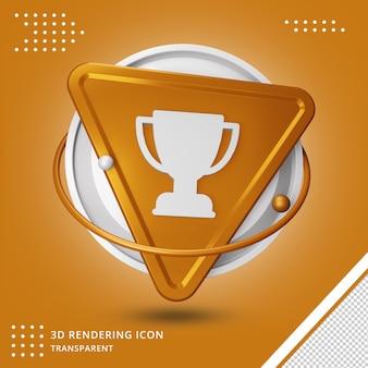 Реалистичный золотой трофей или кубок награды значок 3d-рендеринга изолированные