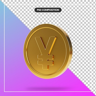 Realistic golden yen coin in 3d render isolated