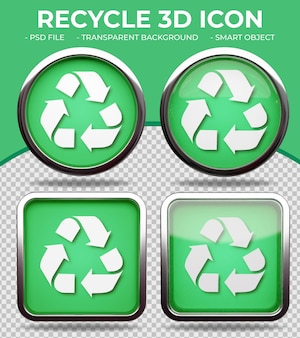 リアルな緑色のガラスボタン光沢のある円形と正方形の3dリサイクルアイコン