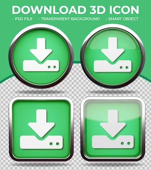 リアルな緑色のガラスボタン光沢のある円形と正方形の3dサーバーダウンロードアイコン