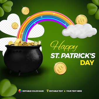 Realistic happy st. patrick's day concept with rainbow