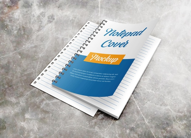 内側のページのモックアップを備えたリアルなハードカバーのノートブック