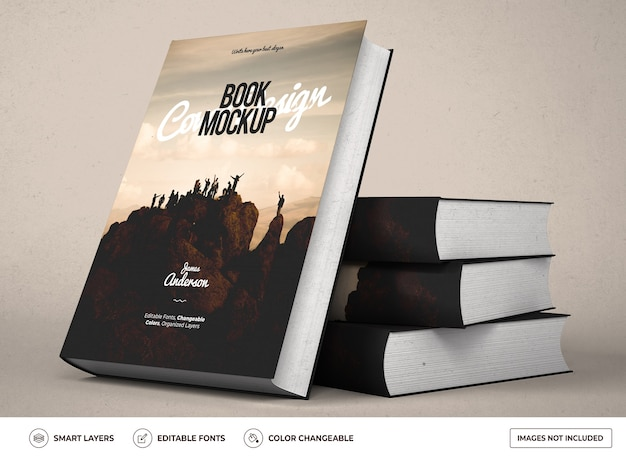 Realistic hardcover book mockup design