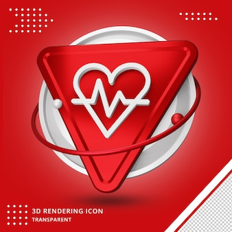 Realistic heartbeat icon in 3d rendering