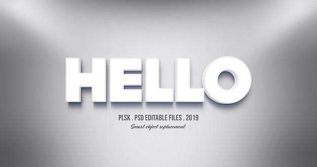 Realistic hello 3d text effect