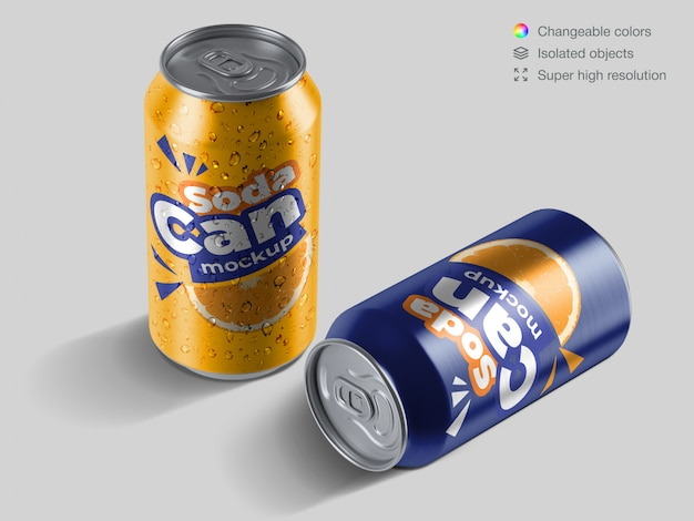 Realistic high angle aluminium soda cans with water drops mockup template