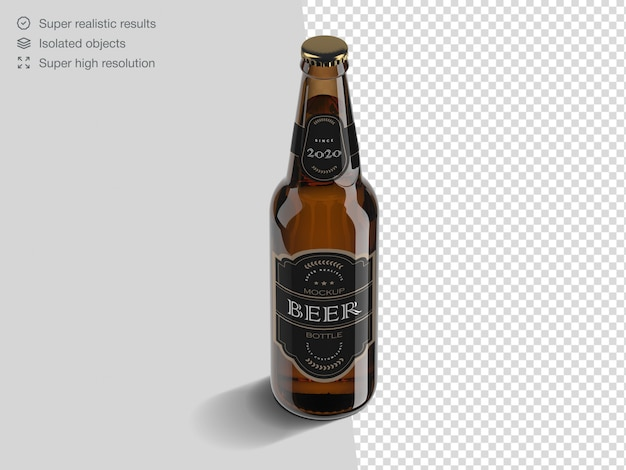 Realistic high angle beer bottle mockup template