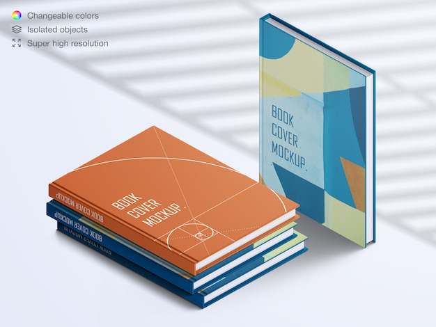 Realistic high angle book hardcover and stack of books with shadow overlay mockup