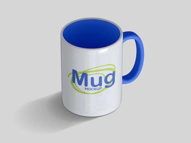 Realistic high angle classic ceramic mug mockup template