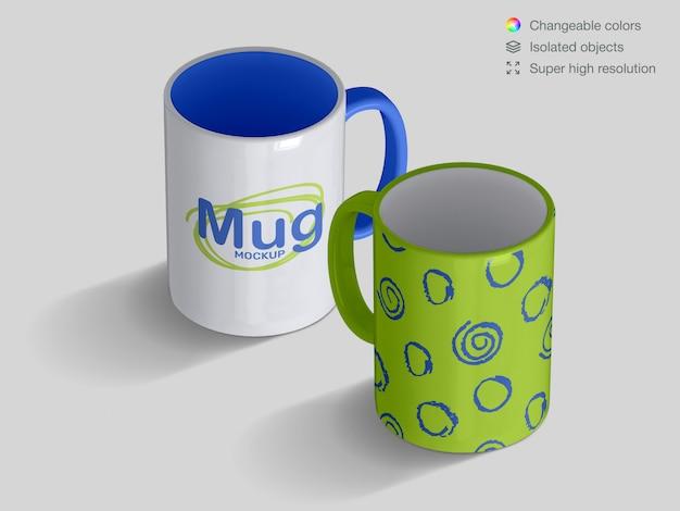 Realistic high angle classic ceramic mugs mockup template