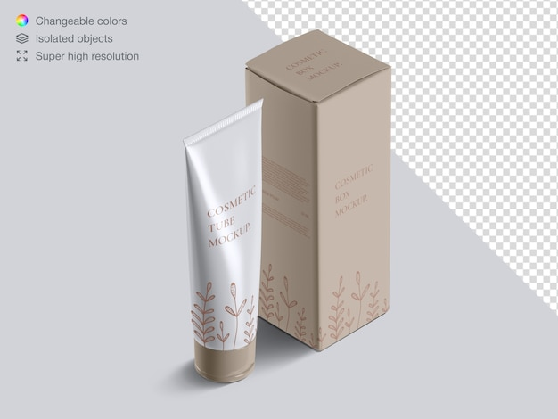 Realistic high angle cosmetic cream tube and cosmetic box packaging mockup
