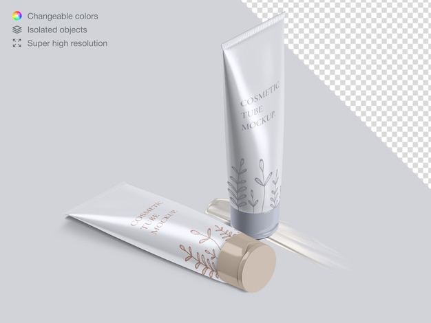 Realistic high angle cosmetic cream tubes packaging with cream stroke mockup