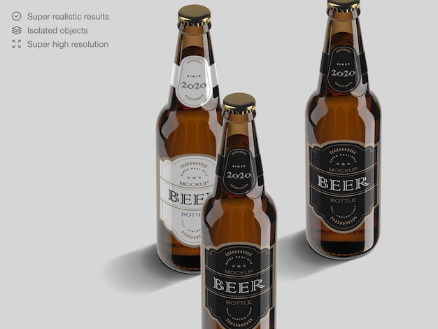 Realistic high angle view beer bottle label mockup template