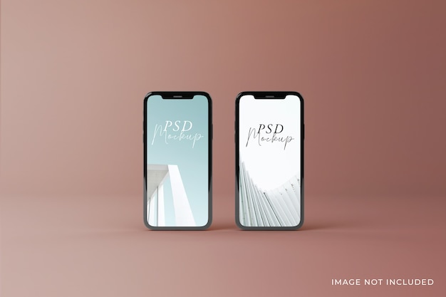 Realistic high quality two mobilecreen mockups design in top view