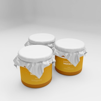 Реалистичный мокап из стеклянной банки с медом