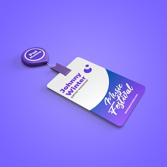 Realistic id card staff employee event mockup