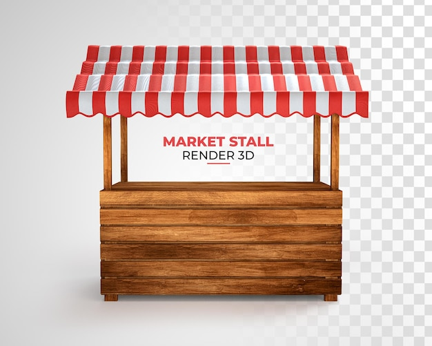 Realistic illustration of empty market stall with red and white striped rendering