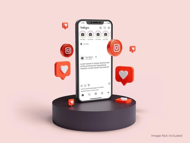 Реалистичный instagram главный экран предварительный просмотр мокап смартфона премиум psd