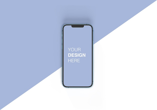 편집 가능한 배경이 있는 현실적인 iphone 13 화면 모형