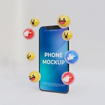 소셜 미디어 아이콘이 있는 현실적인 iphone 모형