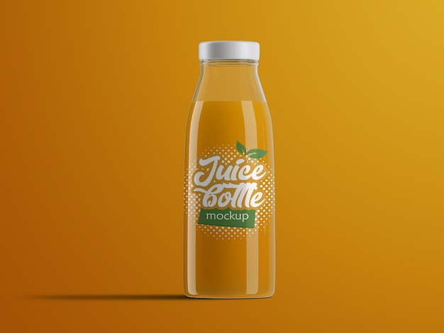Realistic isolated mockup of plastic fruit juice bottle packaging