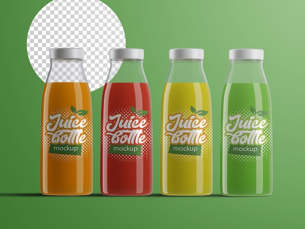 Realistic isolated mockup of plastic fruit juice bottles packaging with different flavours