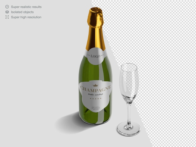 Realistic isometric champagne bottle mockup template with glass