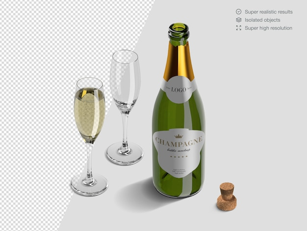 Realistic isometric champagne bottle mockup template with glasses and cork