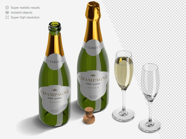 Realistic isometric champagne bottles mockup scene creator with glasses and cork