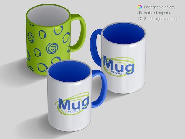 Realistic isometric classic ceramic mugs mockup template