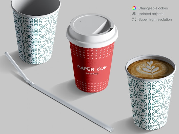 Realistic isometric coffee cups mockup with cocktail straw
