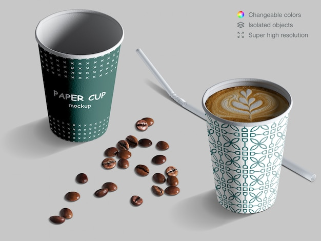 Realistic isometric coffee cups mockup with coffee beans and cocktail straw