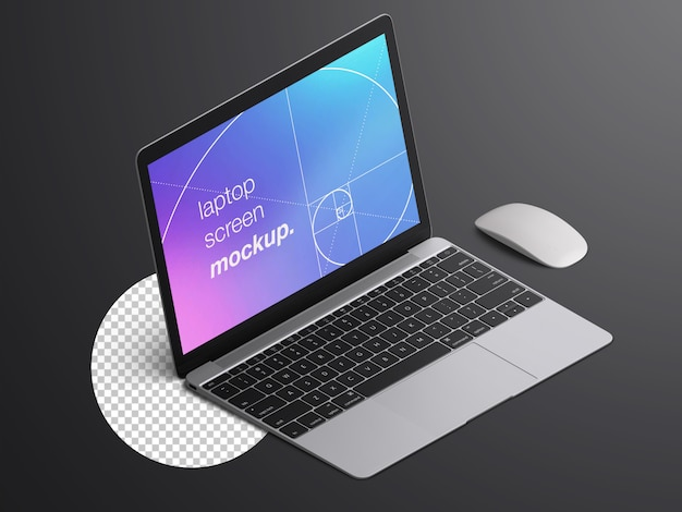 Реалистичный изометрический макет экрана ноутбука macbook с мышью