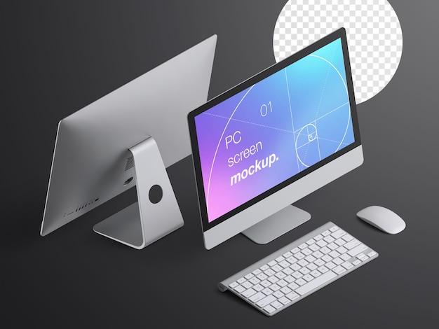 키보드와 마우스가있는 데스크톱 컴퓨터 장치 화면의 고립 된 현실적인 아이소 메트릭 모형