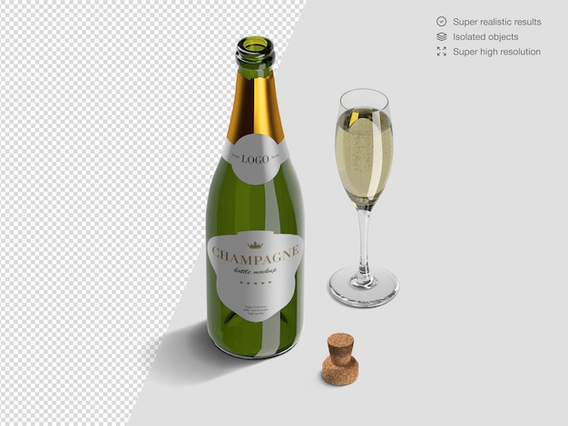 Realistic isometric opened champagne bottle mockup template with glass and cork