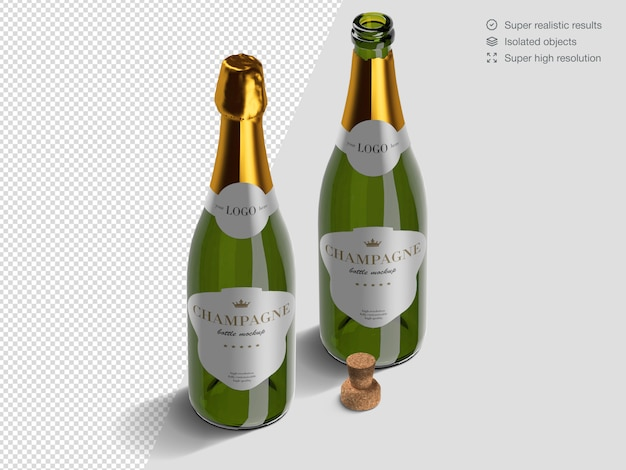 Realistic isometric opened and closed champagne bottles mockup template with cork