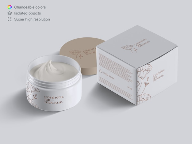 Realistic isometric opened plastic cosmetic face cream jar and  cream box mockup template