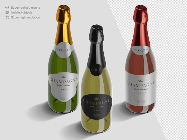 Realistic isometric variety of champagne bottles mockup template