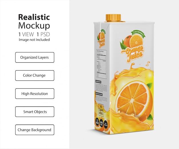 Реалистичный макет картонной упаковки для сока