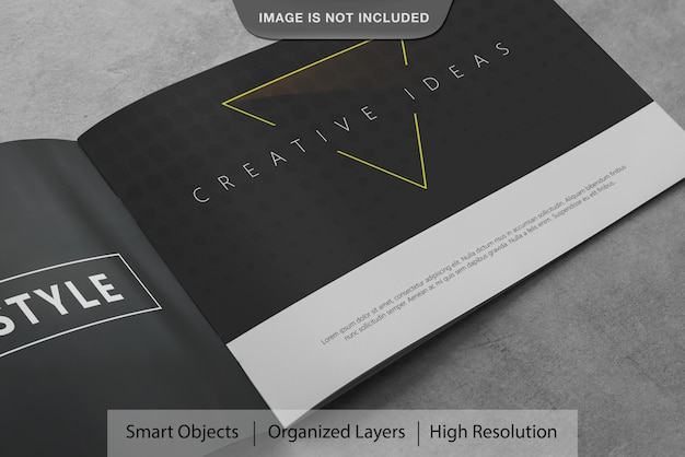 Realistic landscape brochure mockup