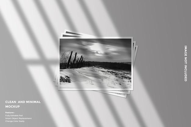 Realistic landscape paper frame photo mockup