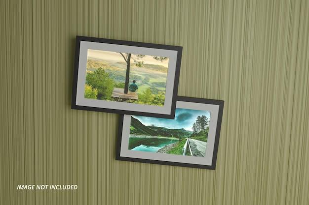 Реалистичный макет пейзажной фоторамки на стене premium psd