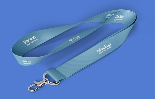 Realistic lanyard mockup on blue background