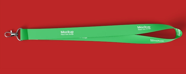 Realistic lanyard mockup on red background
