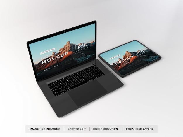 현실적인 노트북 및 태블릿 장치 이랑 템플릿