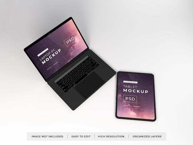 現実的なラップトップおよびタブレットデバイスのモックアップテンプレート