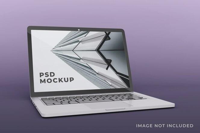 현실적인 노트북 디스플레이 모형 디자인