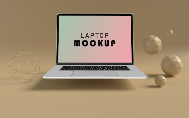 Realistic laptop front view mockup free psd